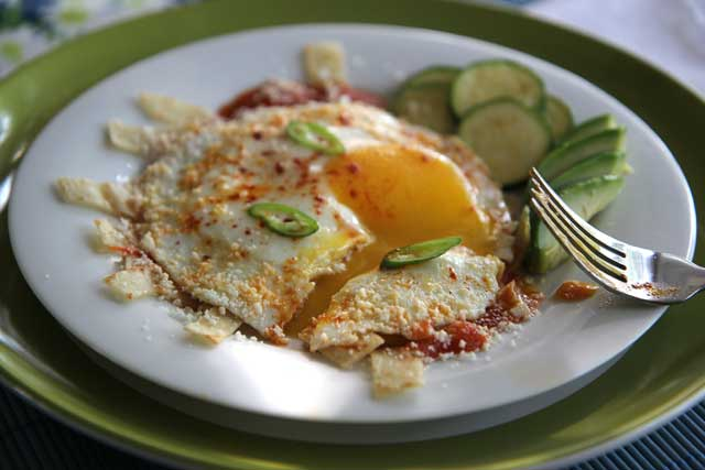 chilaquiles and fried egg