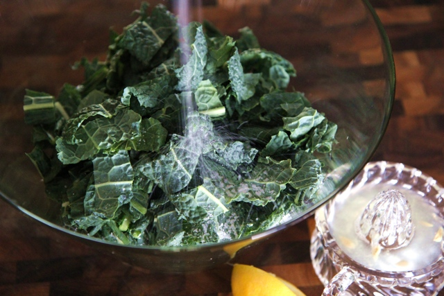 Pre-massage, this kale is tough and leathery and veiny