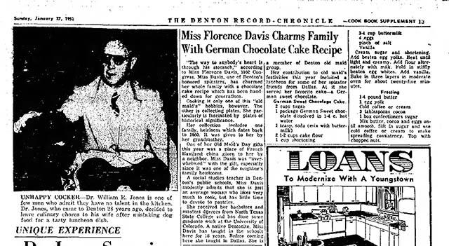 Variation on German Chocolate Cake, Denton, TX 1952