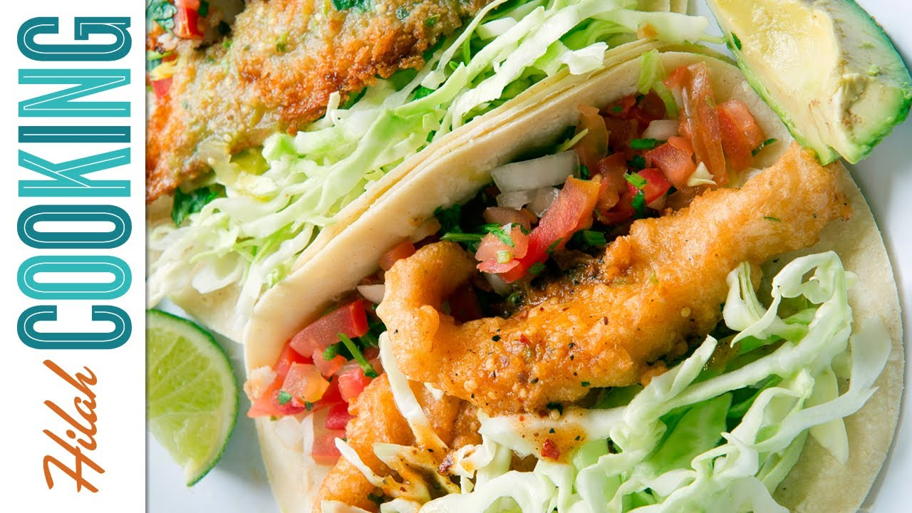 How to make fish tacos hilah cooking for Fish burrito recipe