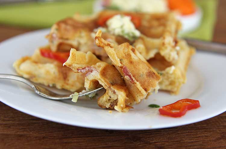 Savory Ham and Cheese Waffles - Hilah Cooking