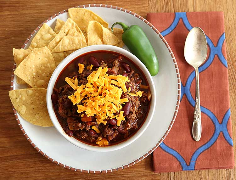 bowl of chili with beans recipe