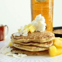piña colada pancakes with rum syrup