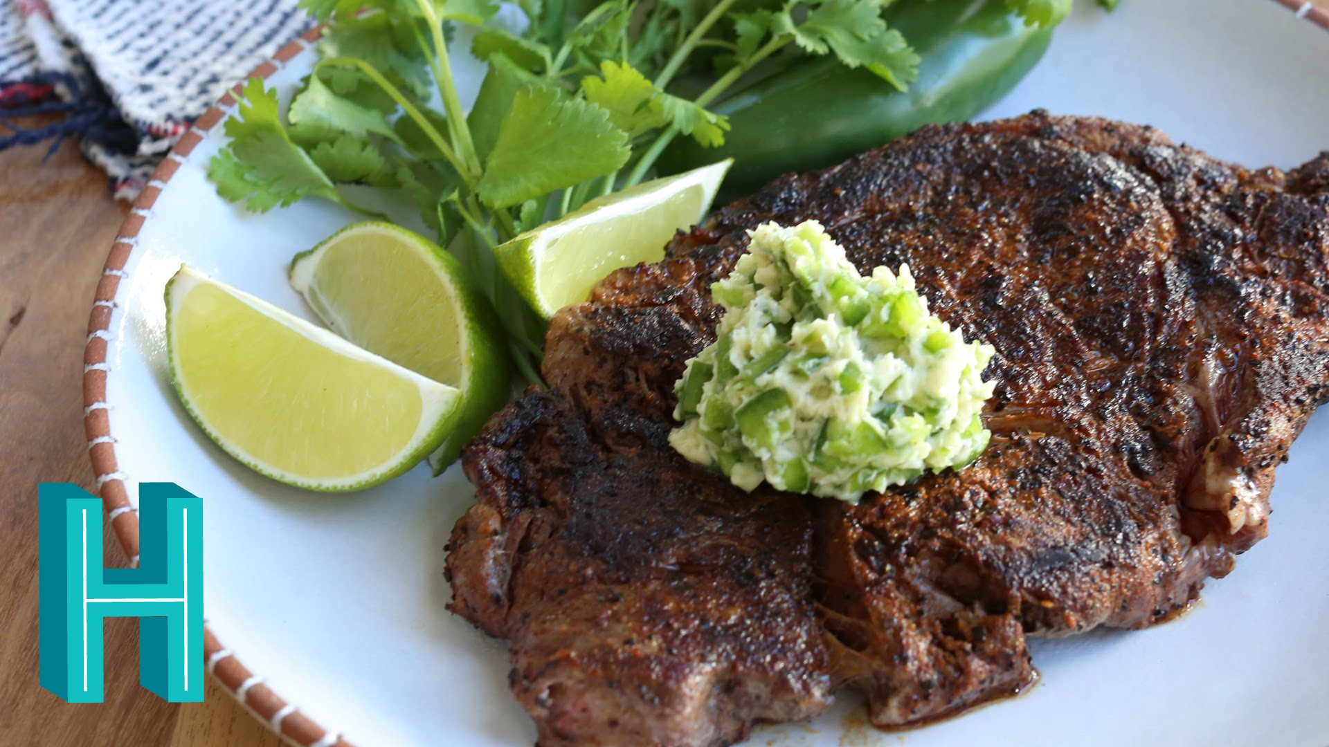 Coffee-rubbed Ribeye with Jalapeño Butter - Hilah Cooking