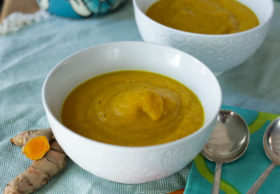 Carrot turmeric soup - add fresh turmeric rhizomes or dried turmeric to this simple carrot soup for a peppery bite, a golden color, and anti-inflammatory benefits! Hilahcooking.com