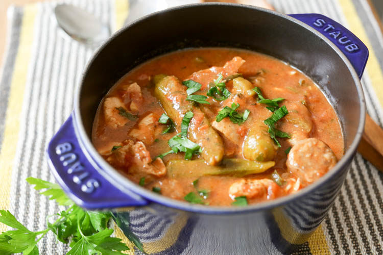 Cheater's quick chicken and sausage gumbo for when you want the real thing but you don't have all day. This easy gumbo goes great with rice or cornbread or on its own for a one-pot meal. Use fresh or frozen okra, chicken and sausage