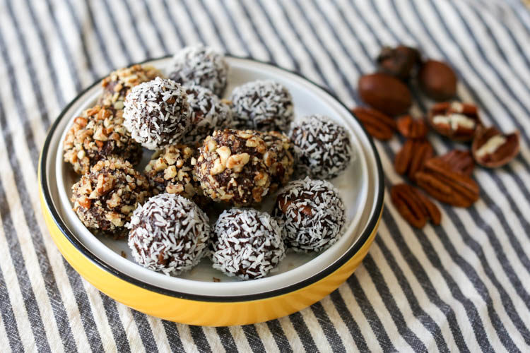 Healthy-ish no-cook German Chocolate Truffles are sweetened with only maple syrup and are full of good coconut oil, pecans and cocoa powder