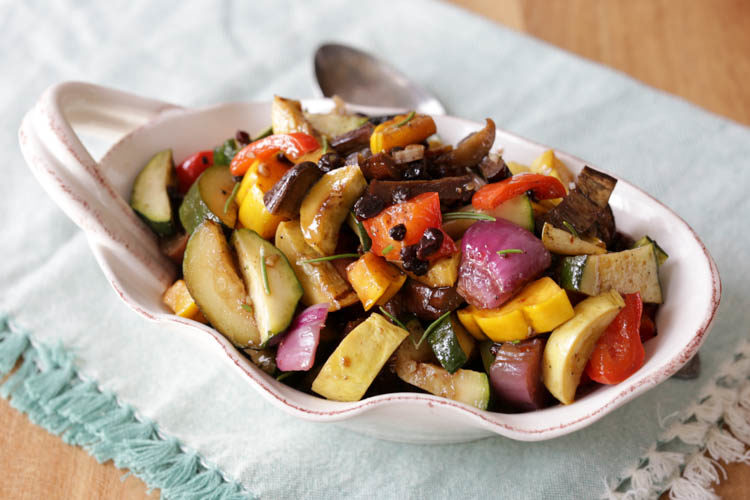 Caponata salad is a marinated roasted vegetables salad with balsamic vinegar, olive oil, garlic, rosemary and a little sweetness from dried currants