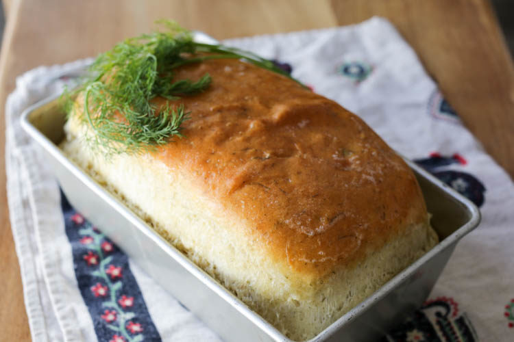 An easy white sandwich bread with dill - keeps well, slices beautifully, and super simple