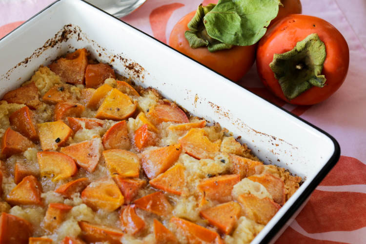 Persimmon cobbler with fresh ground cardamom is a perfect fall dessert. Use Fuyu persimmons in this recipe