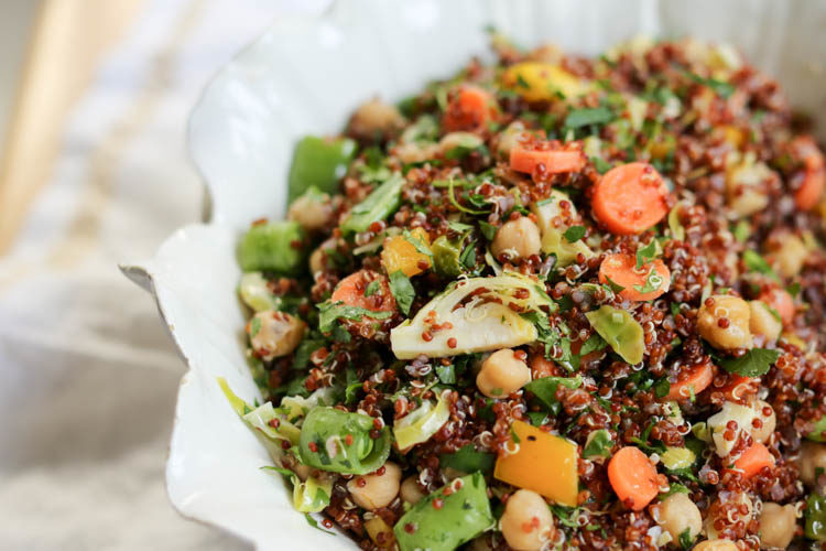 vegan bean and quinoa salad with lemon vinaigrette, brussels sprouts, carrots and herbs - great side or main-dish salad. Keeps several days in the fridge!