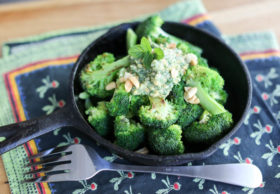 Seared broccoli with mint and peanut pesto