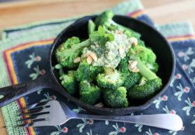 Seared broccoli with mint and peanut pesto
