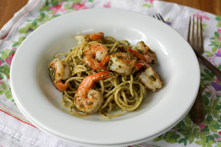 Habanero pesto shrimp