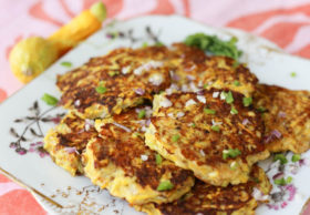 Summer squash fritters with sharp Cheddar and spicy serranos are a quick and easy vegetarian lunch or snack