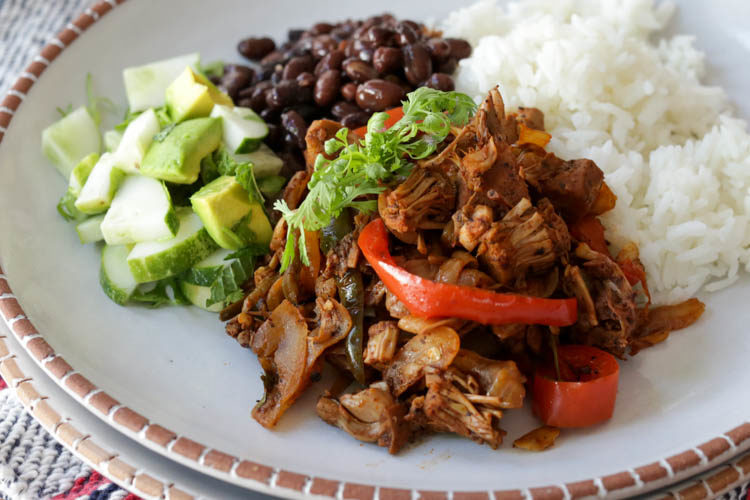 This jackfruit ropa vieja is a vegan version of Cuba's famous shredded beef dish, ropa vieja. Excellent served with black beans and white rice