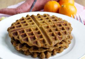 Sweet potato waffles with orange and vanilla = Creamsicle Waffles