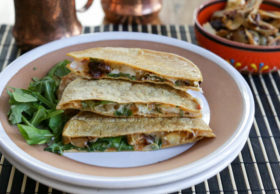 Hearty, vegetarian quesadillas filled with pepper jack cheese and chipotle-marinated roasted artichoke hearts. The chipotle roasted artichokes make a great appetizer on their own, too!