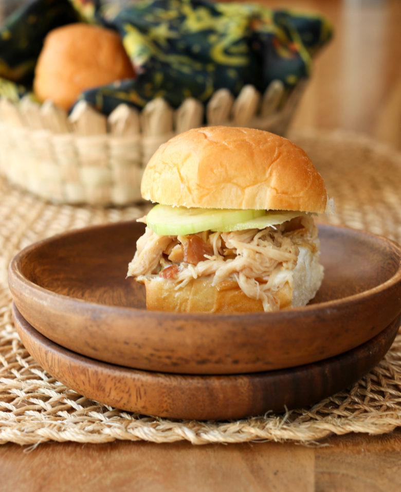 Kahlua Pork sliders - a crowd-pleasing, simple party food! Make the shredded pork in your slowcooker or oven