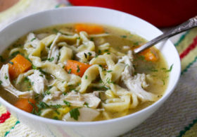 Homemade chicken noodle soup! Made with simple homemade egg noodles to cure your every ailment.