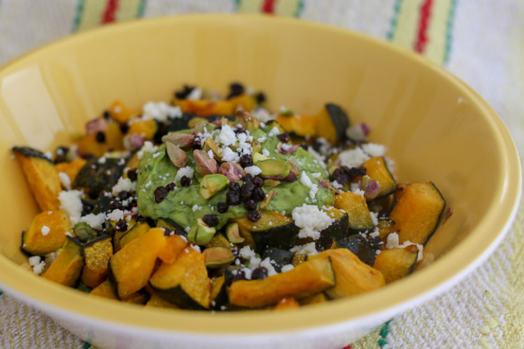 Kabocha squash (pumpkin) salad - roasted kabocha with an avocado dressing, cotija cheese, serve warm or room temperature