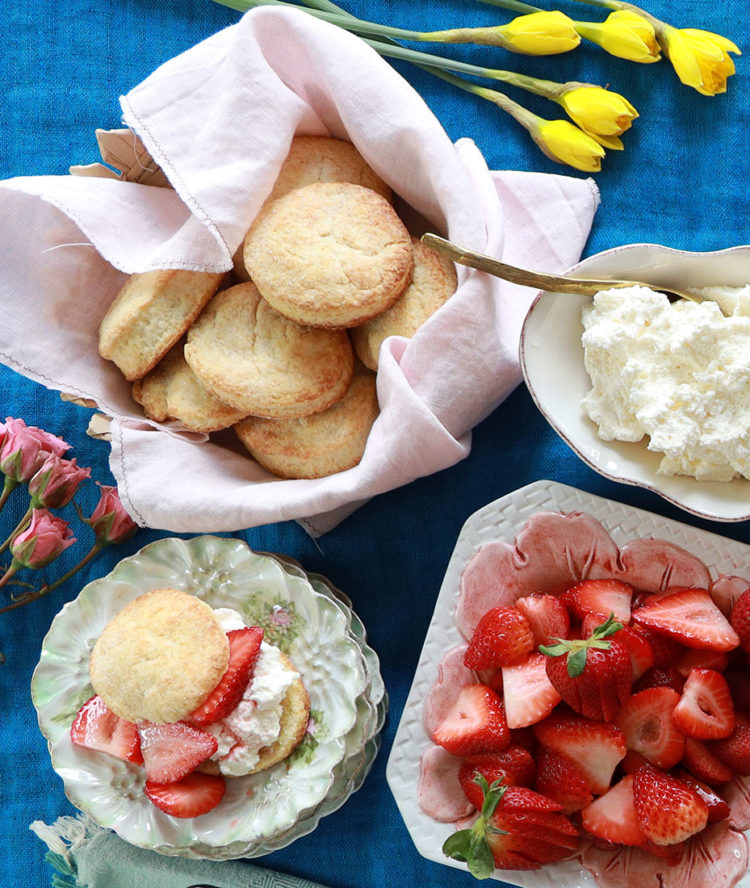 classic strawberry shortcake recipe. Traditional sweet cream biscuits, macerated strawberries and fresh whipped cream