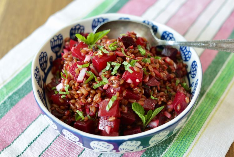beet and farro salad with mint