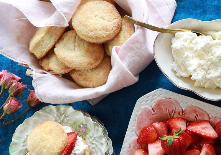 classic strawberry shortcake with sweet cream biscuits, marinated strawberries and fresh whipped cream