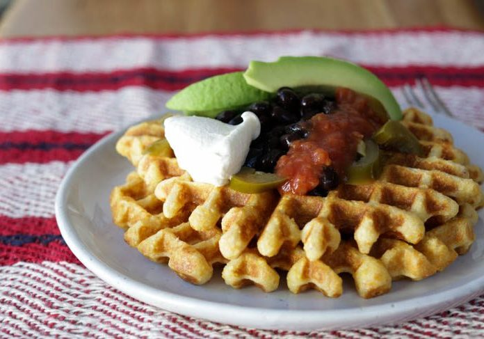 cornbread waffles with black beans