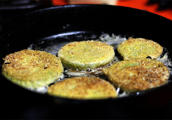 Fried Green Tomatoes in Skillet