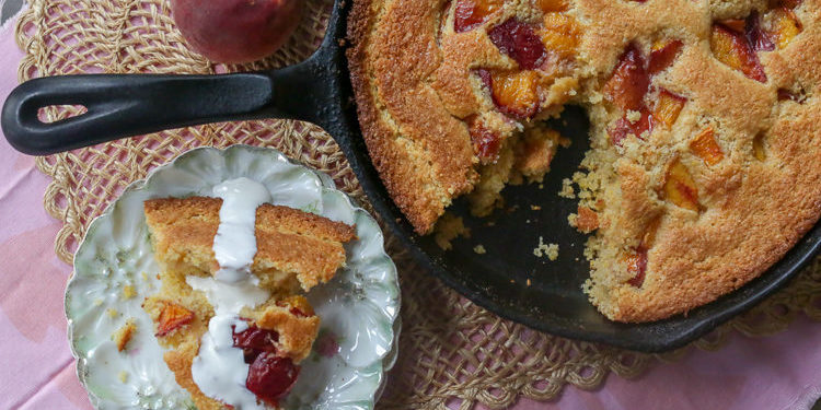 Sweet peach cornbread cake. For lovers of cake and lovers of sweet cornbread, this cornbread cake is a hit