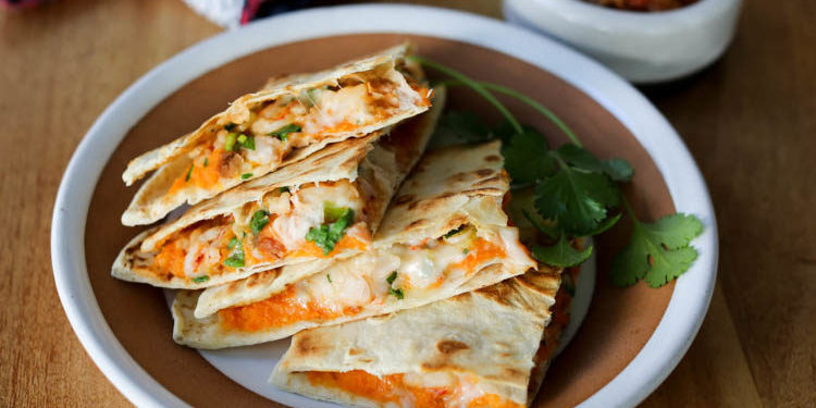 shrimp sweet potato quesadillas make a healthy, quick dinner or lunch. Also a great way to use up leftover shrimp