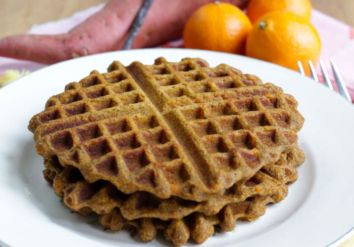 Sweet potato waffles with orange and vanilla = Creamsicle Waffles